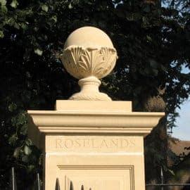 balls finials acanthus cast stone