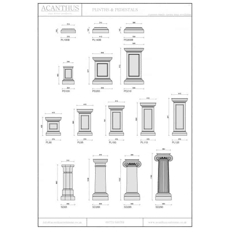 PL90-Tuscan-Cast-Stone-Plinth-Acanthus-Cast-Stone