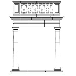 Portico with Balustrading