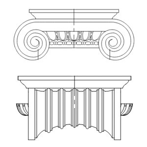 cast-stone-Ionic-Capital-column-drawing-acanthus-cast-stone