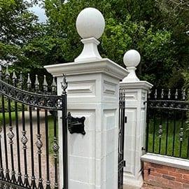 gate pillars acanthus cast stone
